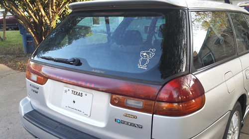 Photo: Guns & Gasoline /r/Subaru sticker - Customer Installed on Subaru Legacy 2.5GT Wagon